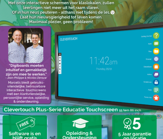 Touchscreen digiboard interactief bord smartbord promotie event marcelis halle Clevertouch ctouch newline