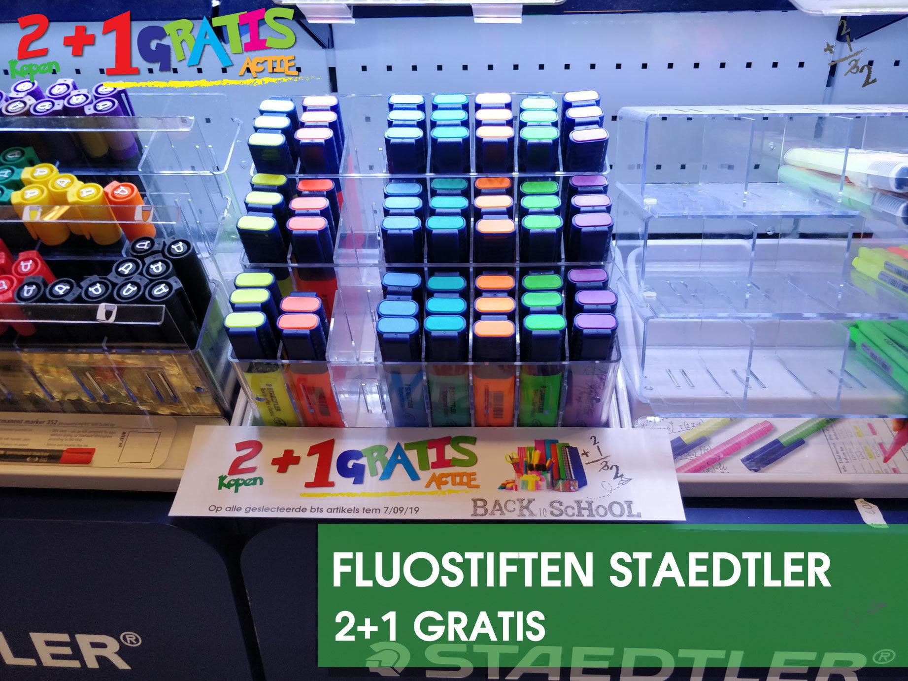 Marcelis-School-materiaal-fluo-stiften-staedtler-promo-2+1-gratis-actie