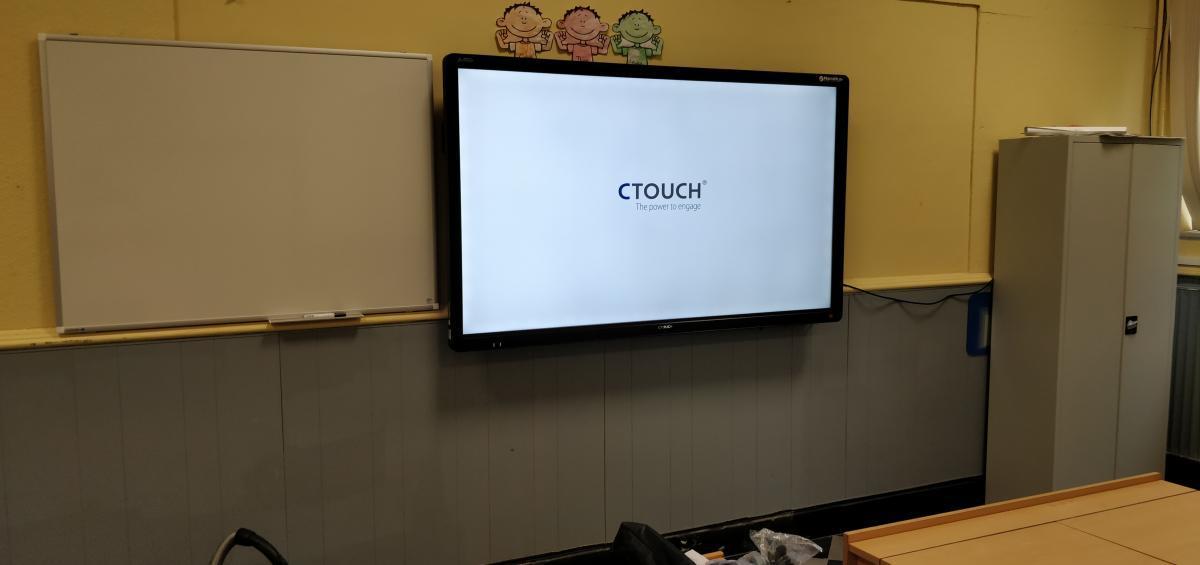 ctouch Laser Sky 75 muurinstallatie schoolbord touch digitaalbord bordboek smartboard Marcelis Smart Office Halle Specialist scholen