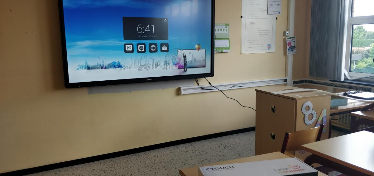 ctouch laser 86 inch smartboard Marcelis Zonhoven Limburg VMS touch installatie