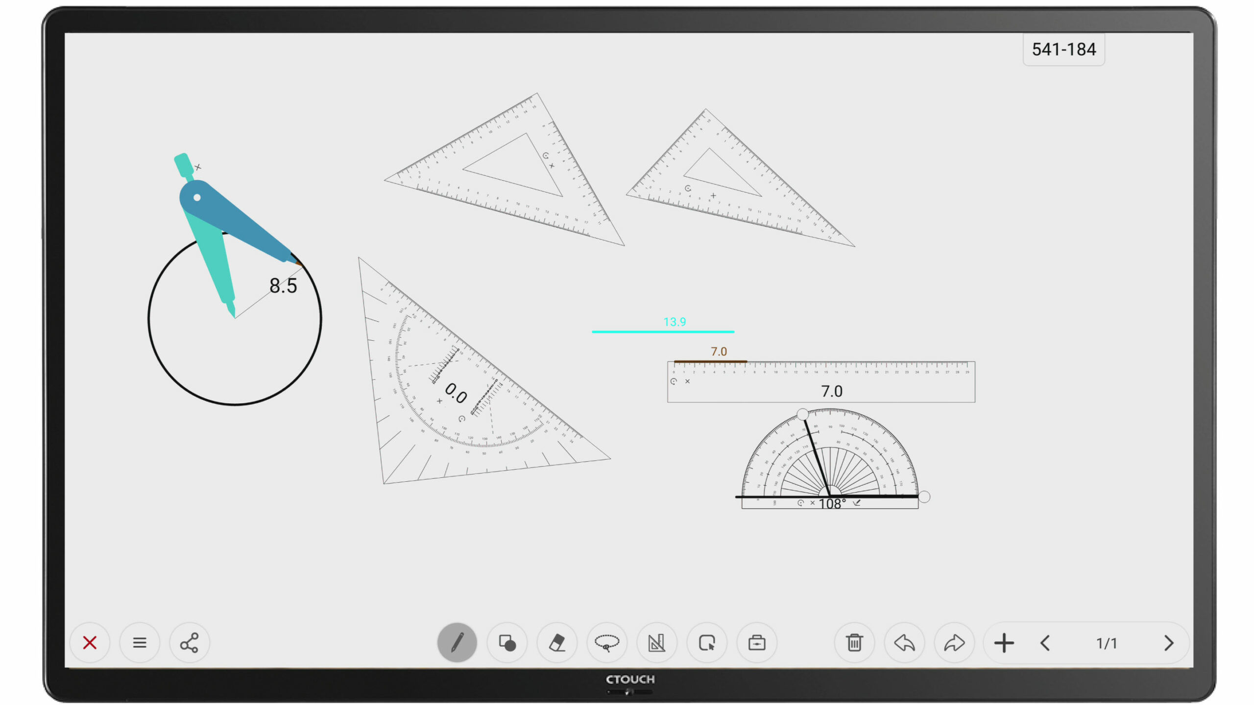 passer geodriehoek meetlat Digitaal whiteboard uboardmate versie 2 ctouch interactief gebruiksvriendelijk educatief school clevertouch